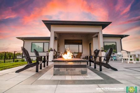 Client Landscape Paver Patio Fire Pit Omaha Landscape  Landscaper Hardscape Construction H&H Lawn and Landscape